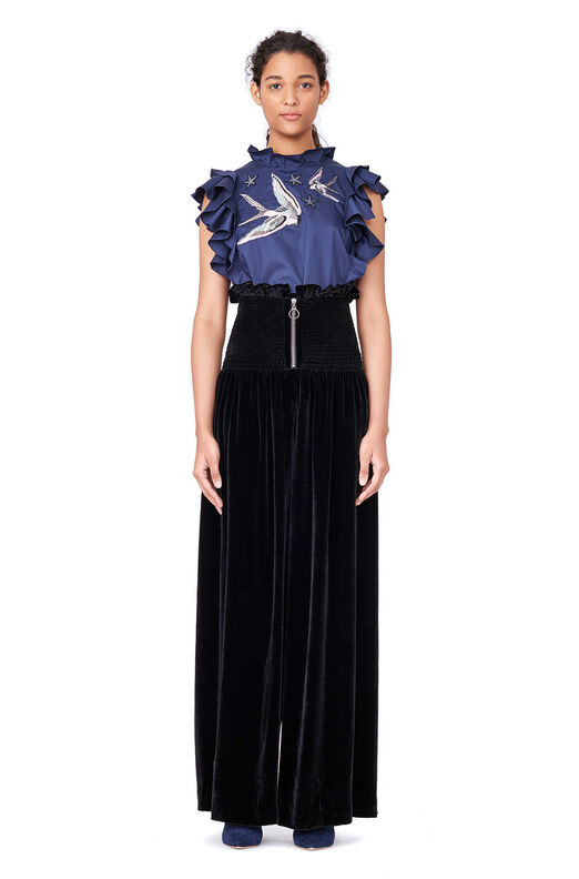 Smocked Velvet Wide Leg Pant - Black