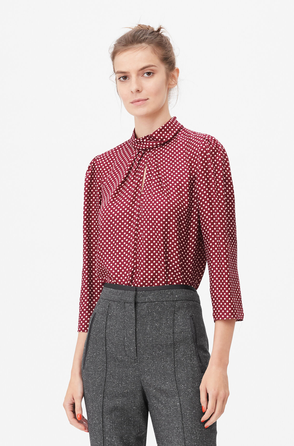 Tailored Deco Dot Twist Neck Top, , large