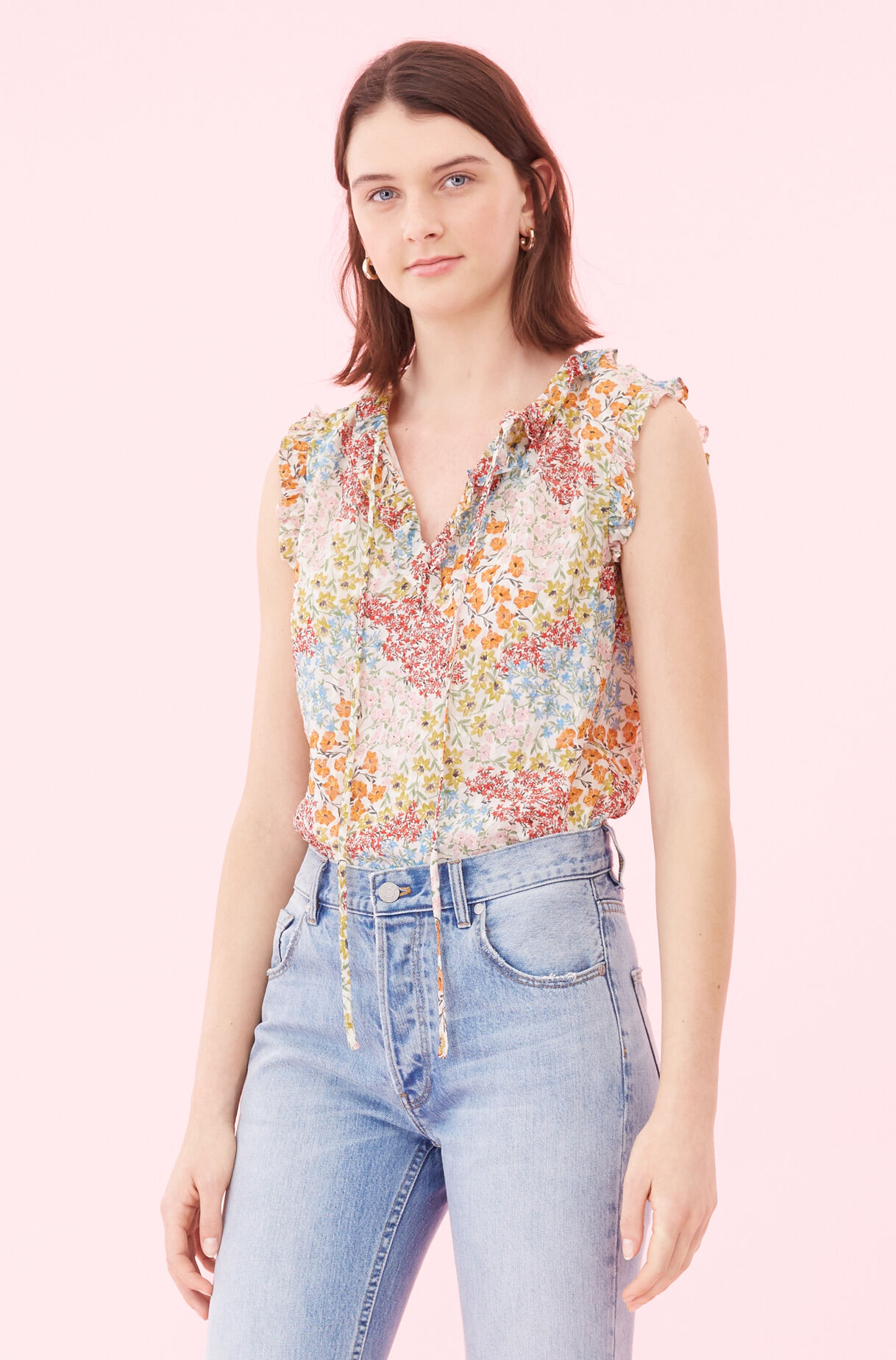 Ava Floral Clip Top, , large