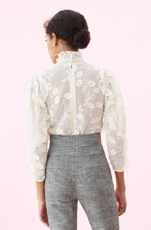 Silk & Embroidered Ruffle Top