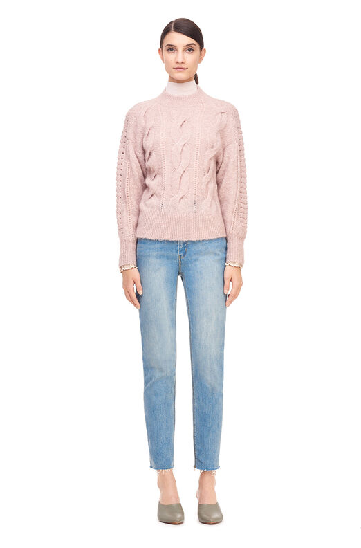 Plush Cable Drop Shoulder Pullover - Nude