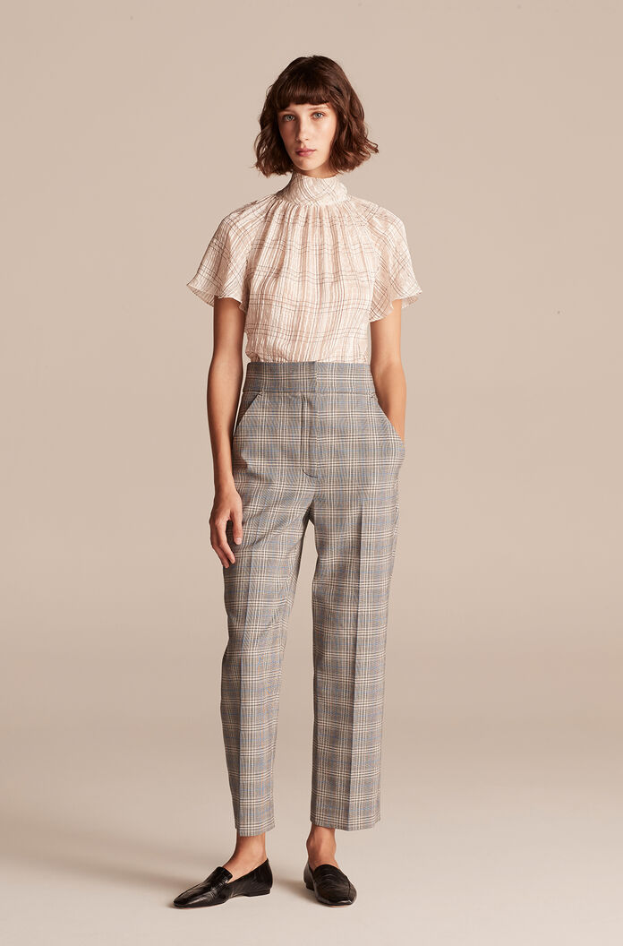 Plaid Suiting Pant, Grey Combo, large