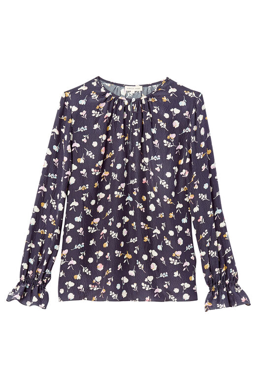 Holly Flower Print Silk Top