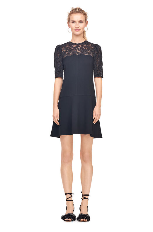 Crepe & Corded Lace Dress - Black
