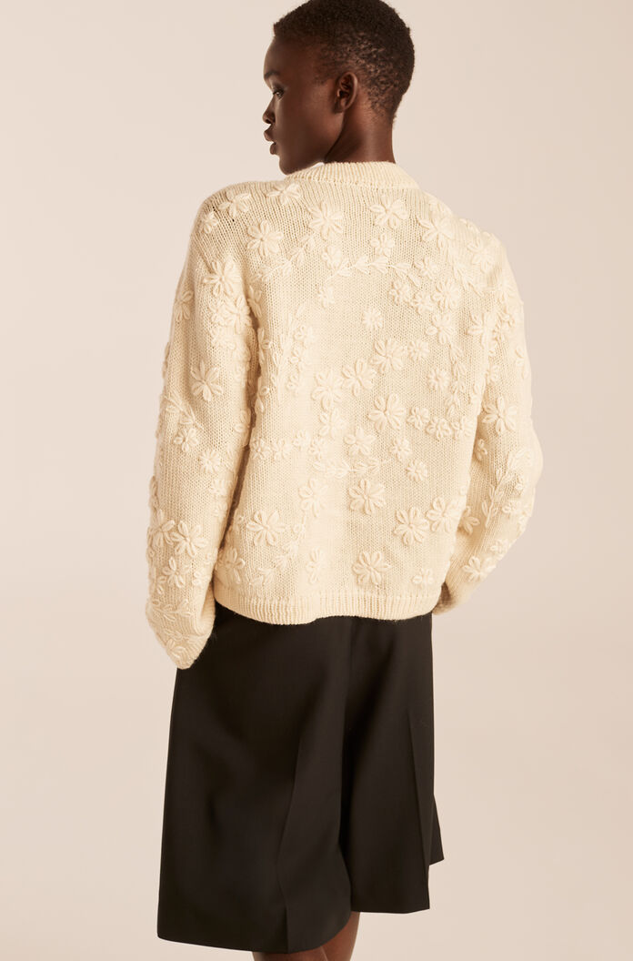 Hand Embroidered Floral Cardigan, Ivory, large