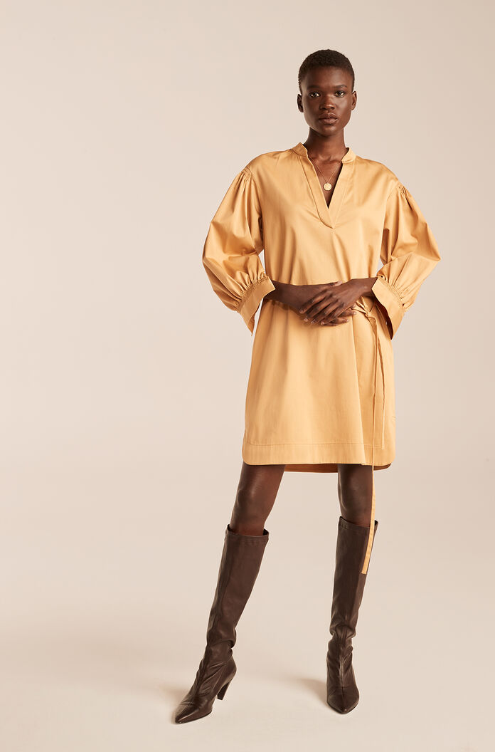Long Sleeve Twill Belted Dress, Butterscotch, large
