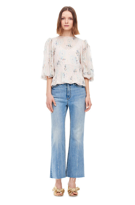 Faded Floral Metallic Clip Top - Stone