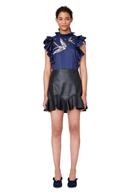 Vegan Leather Ruffle Skirt - Black