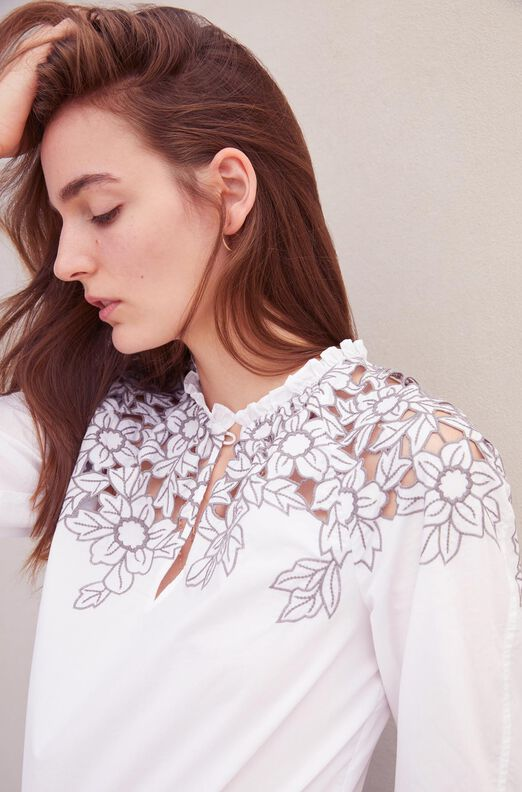 La Vie Embroidered Poplin Top