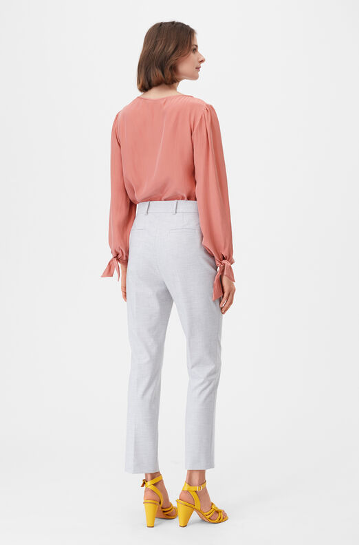Tailored Silk Charmeuse Tie Top