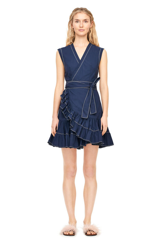 Poplin Wrap Dress - Navy