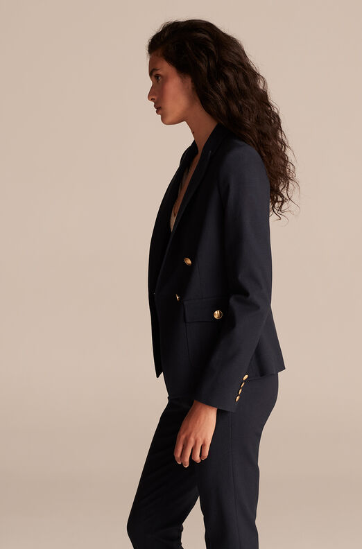 Tailored Basketweave Suiting Jacket, Navy, large