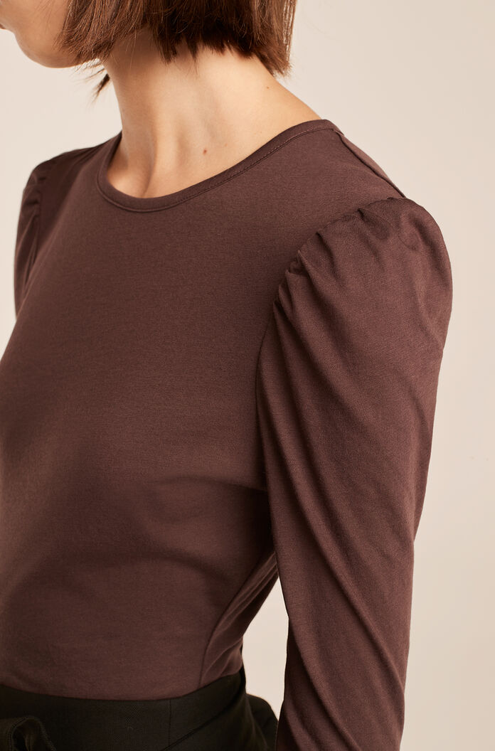 Ruched Long Sleeve Knit Top, Cabernet, large