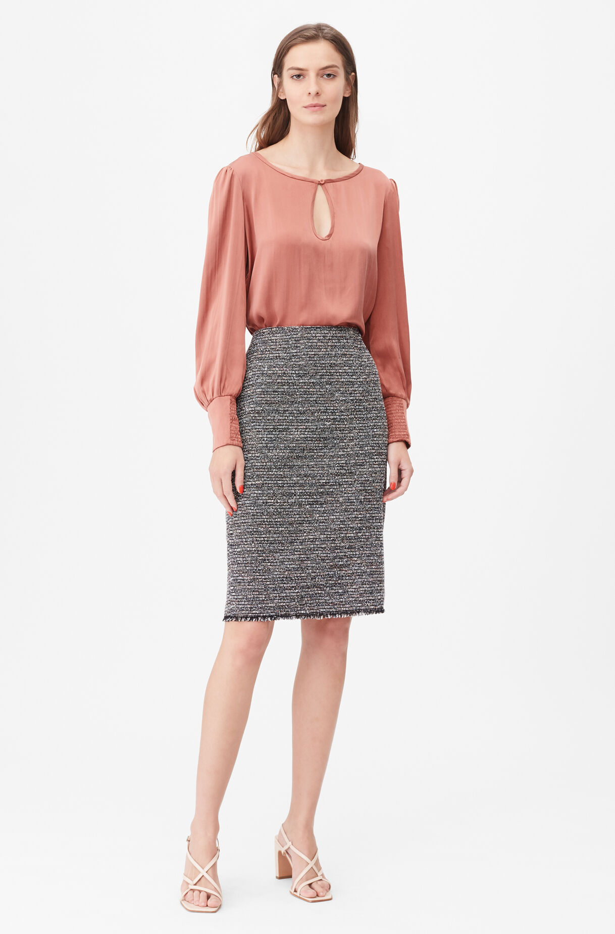 Tailored Static Tweed Pencil Skirt, , large
