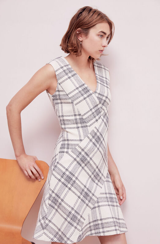 Tailored Windowpane Plaid Tweed Dress