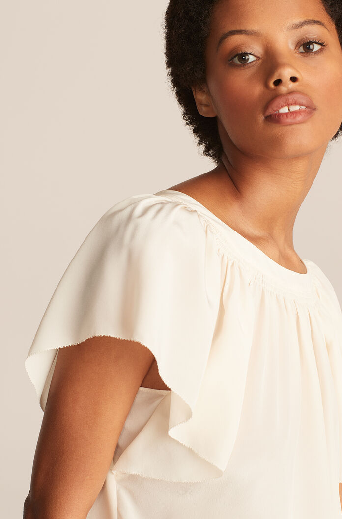Ruched Round Neck Blouse, New Ivory, large