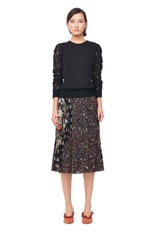 Mixed Print Pleated Skirt - Black Combo