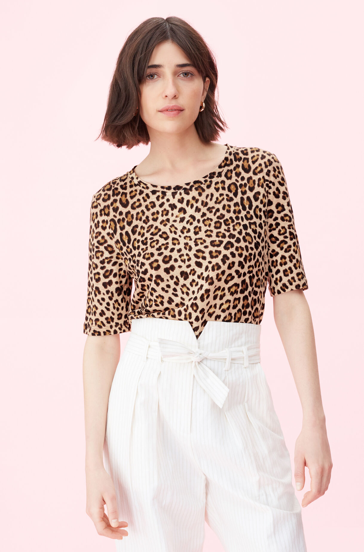 Spring Leopard Jersey Top, Biscuit, large