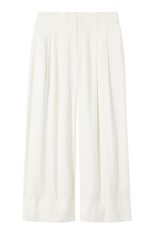 Stretch Linen Wide Leg Crop Pant