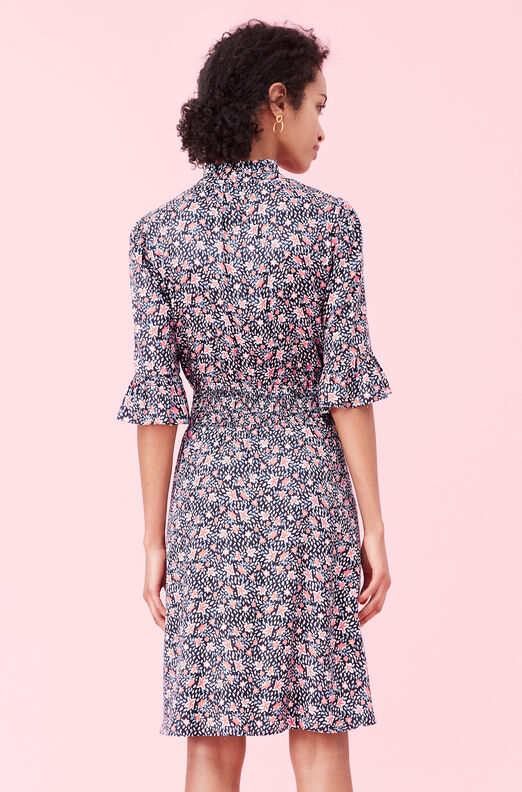Twilight Bloom Silk Twill Dress