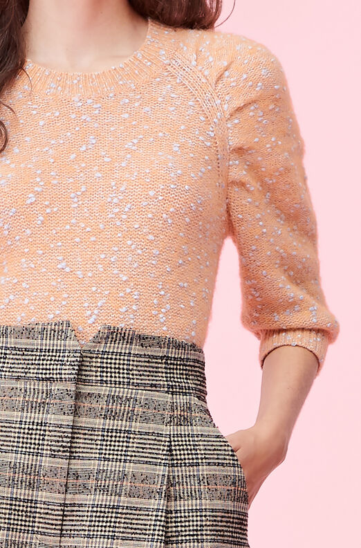 Optic Tweed Ruched Pullover