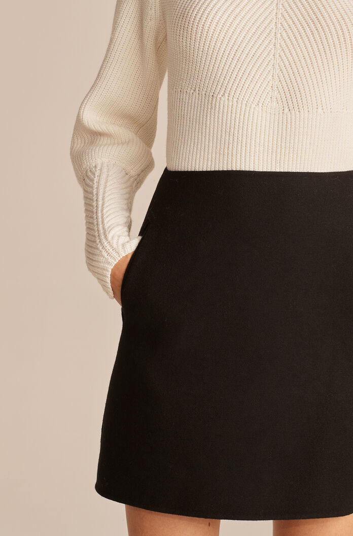 Double Faced Wool Mini Skirt, Black, large