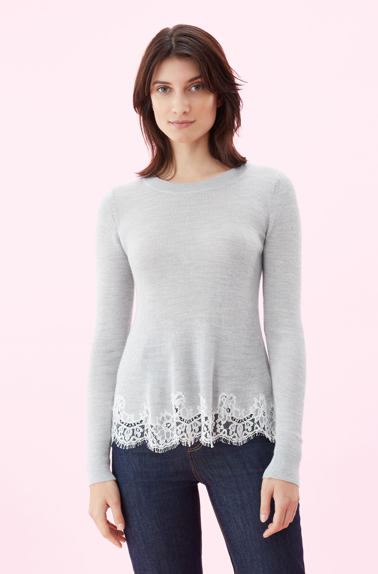 Lace Combo Pullover, , large