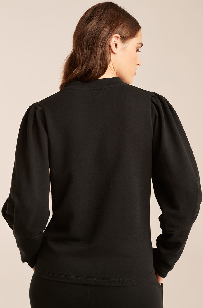 Puff Sleeve Knit Top, Black, large
