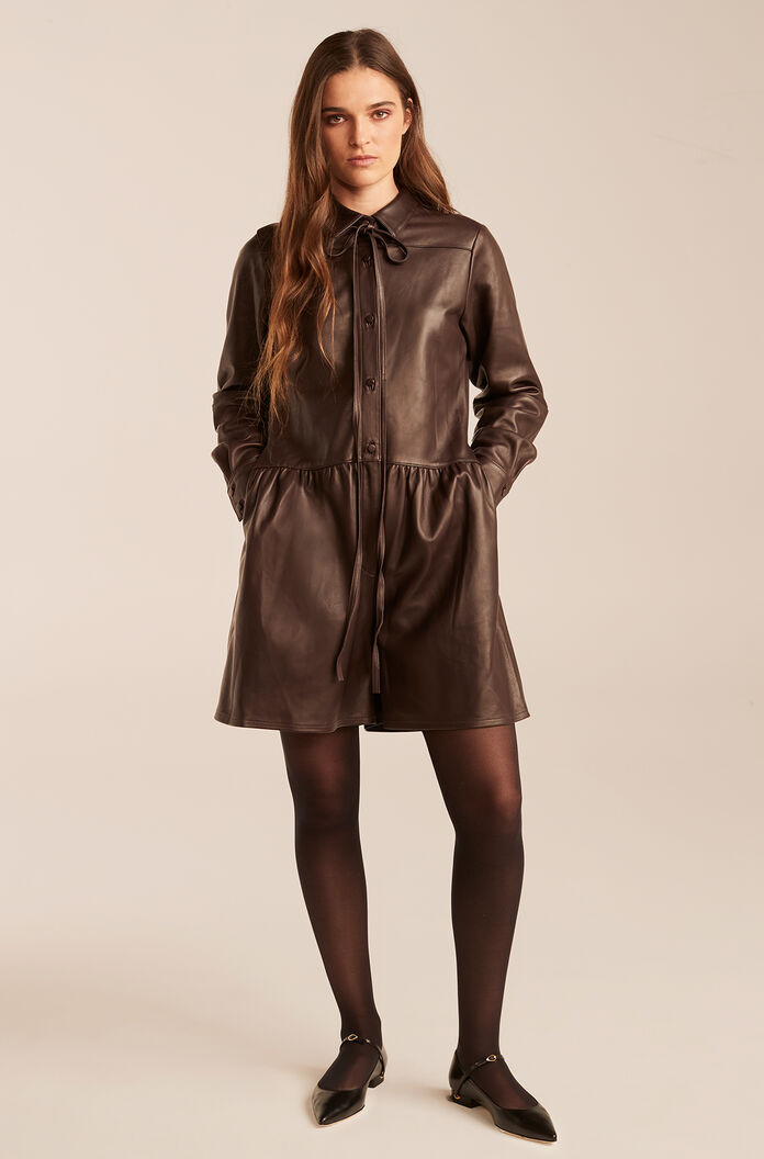 Leather Romper-Chocolate