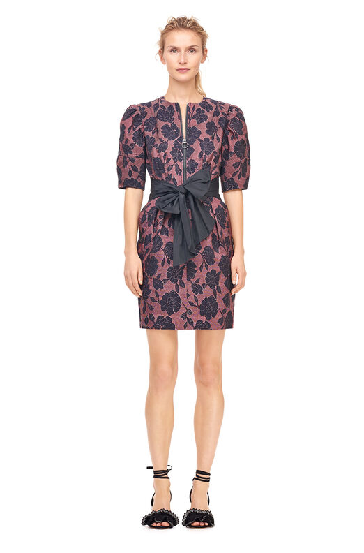 Floral Brocade Dress With Taffeta Bow - Raspberry Combo
