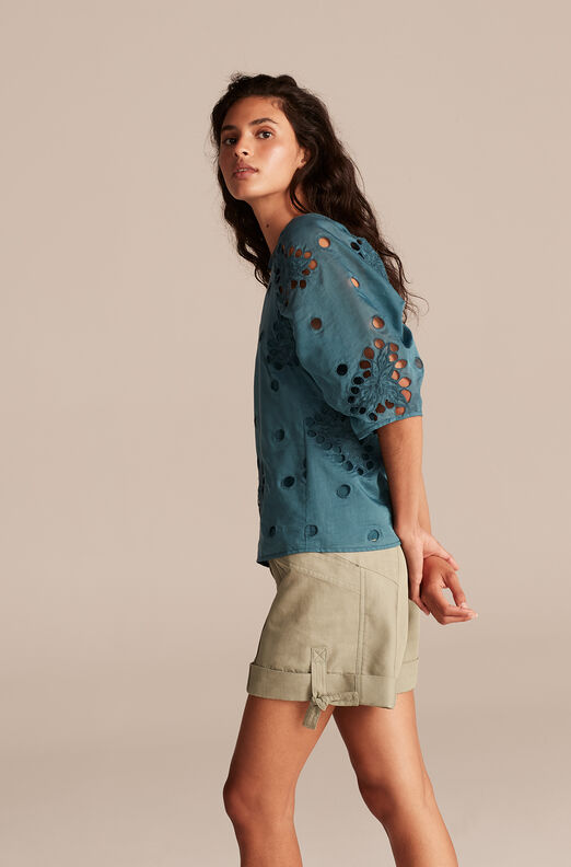 Honeysuckle Eyelet Top, Deep Teal, large