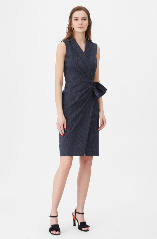 Tailored Pinstripe Suiting Wrap Dress