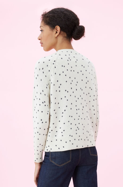 La Vie Embroidered Dot Print Pullover