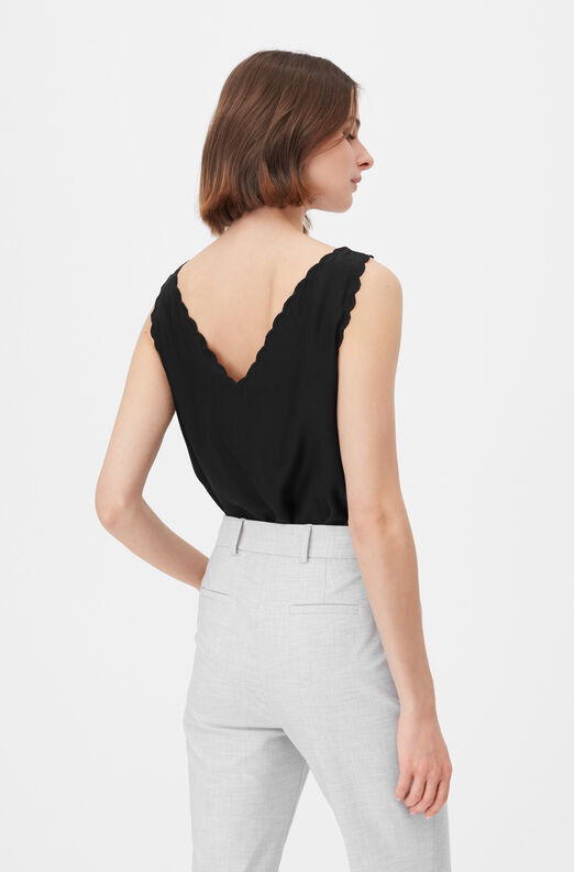 Tailored Silk Charmeuse Scalloped Tank, Black, large