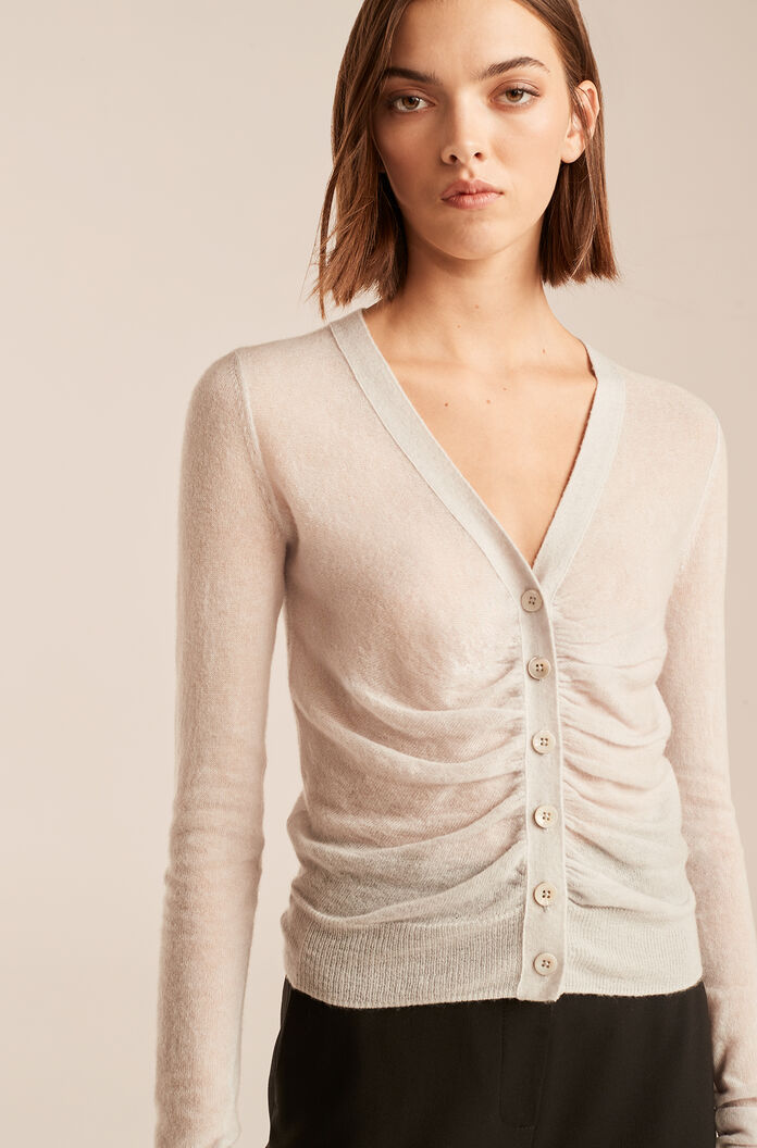 Ruched Cardigan, Silver, large