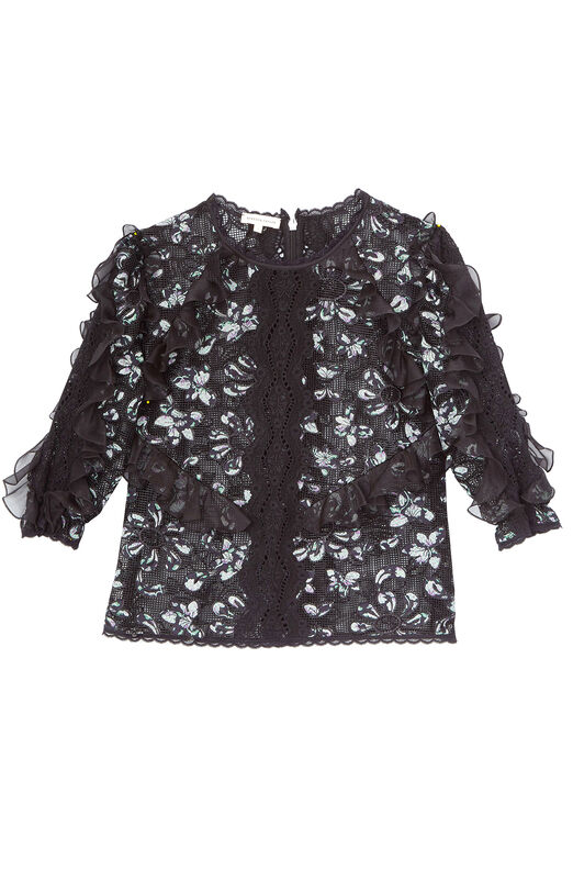 Moonflower Embroidered Top