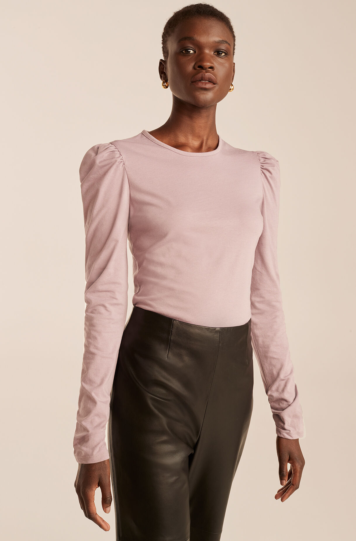 Ruched Long Sleeve Knit Top-PaleLilac