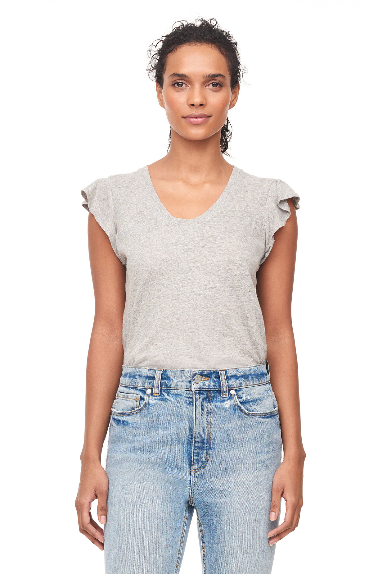 La Vie Washed Textured Jersey Tee, , large