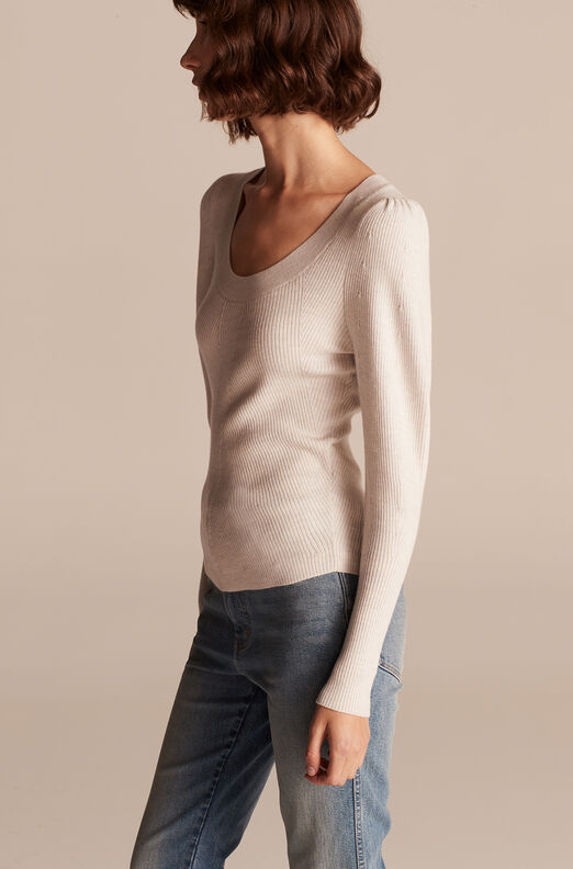 Merino Wool U Neck Sweater, Quartz Melange, large