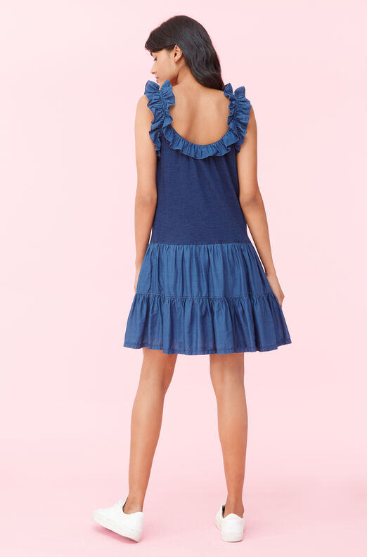 La Vie Tissue Denim & Indigo Jersey Dress