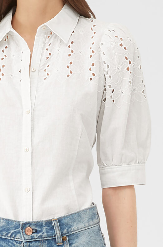 La Vie Sophie Eyelet Top, Milk, large