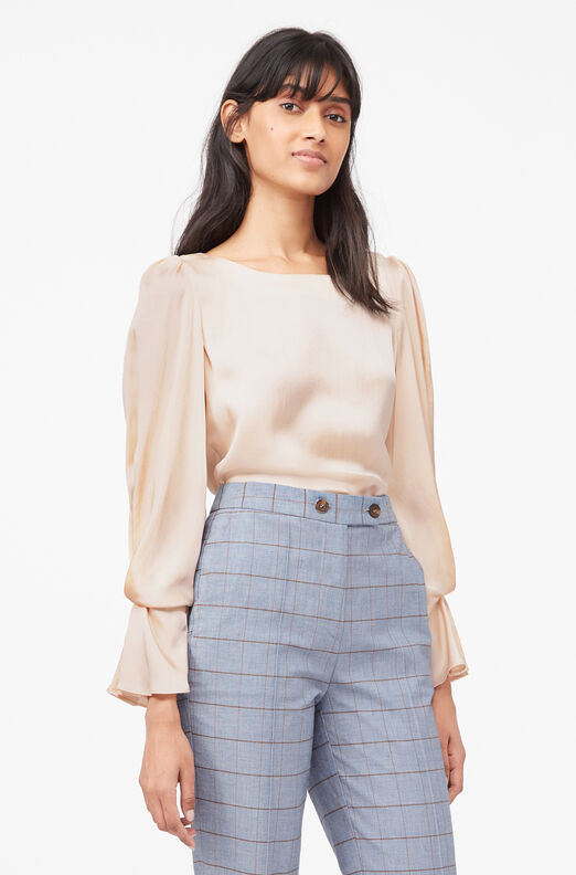 Tailored Silk Charmeuse Top, Marzipan, large