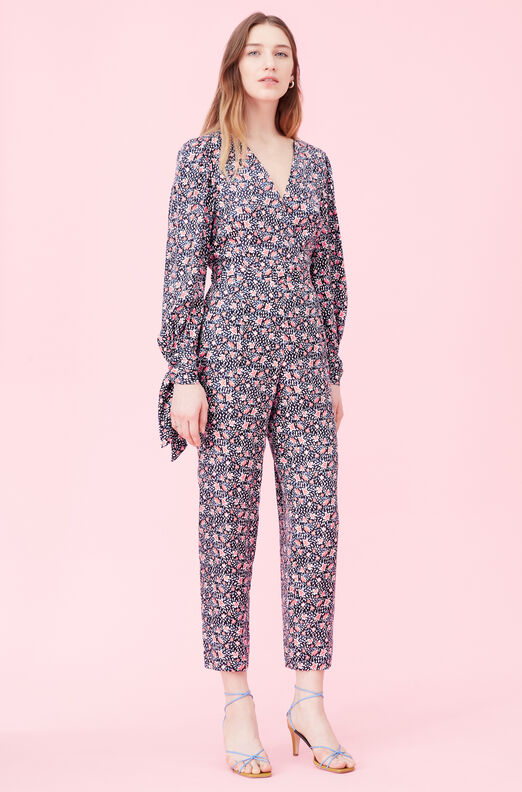 Twilight Bloom Silk Twill Jumpsuit