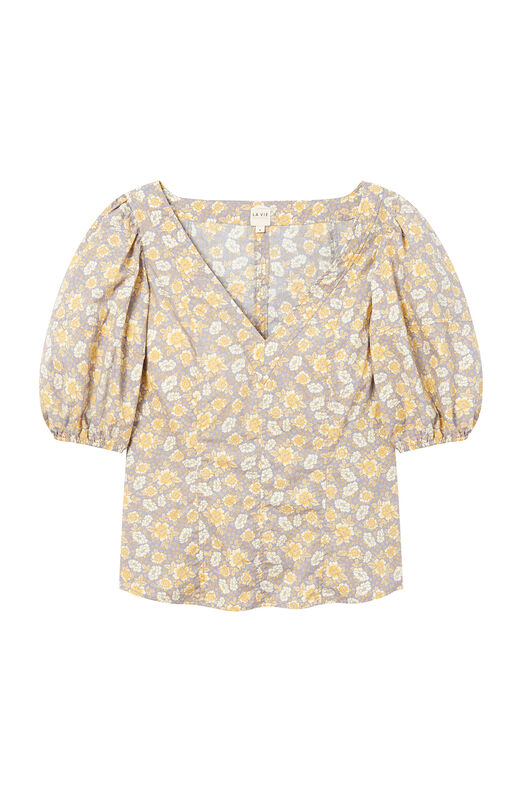 La Vie Margeaux Meadow Poplin Top