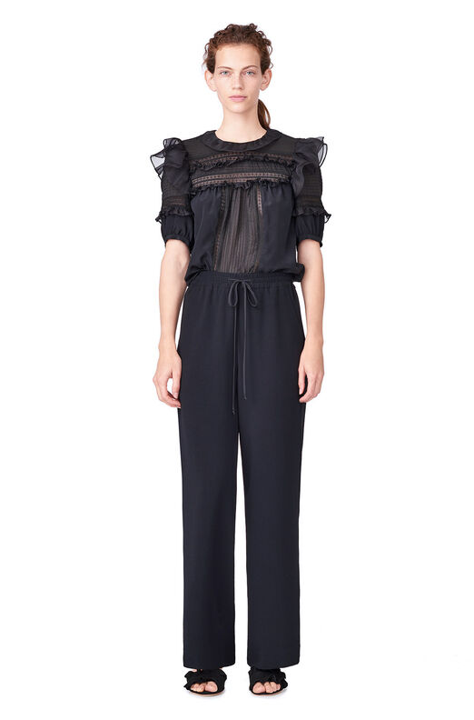 Viscose Crepe Wide Leg Pant - Black