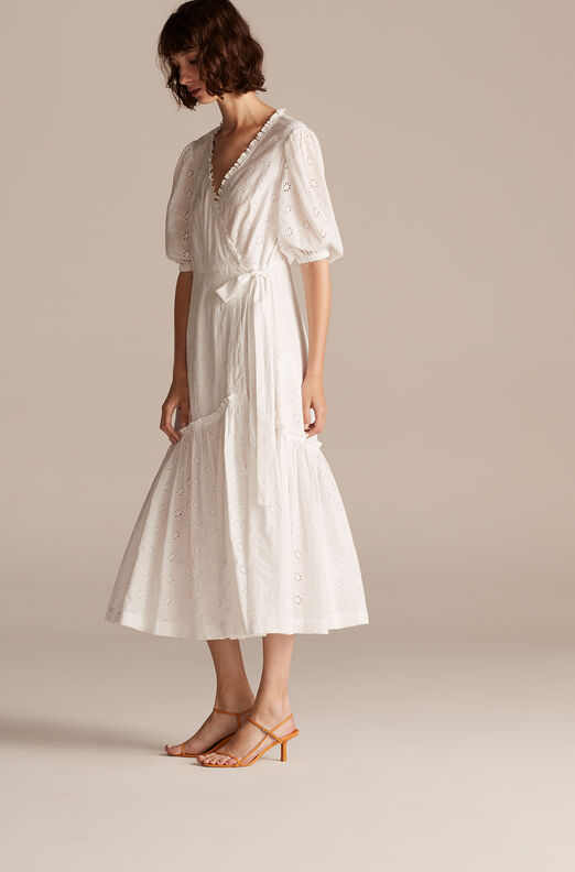 La Vie Lucie Eyelet Wrap Dress, Milk, large