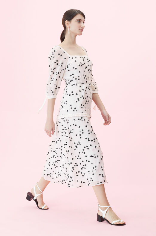 Alessandra Embroidered Square Neck Dress