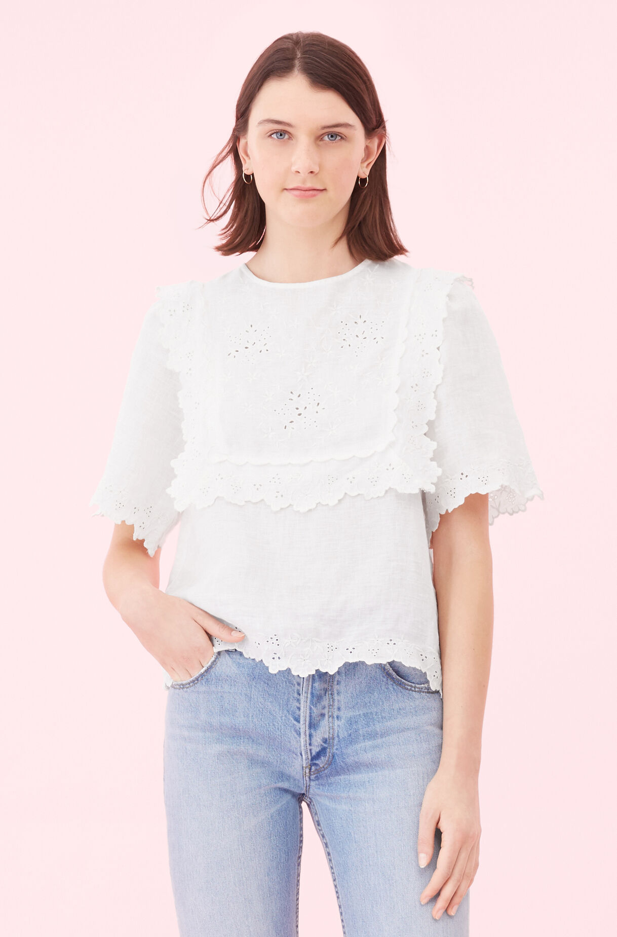 La Vie Embroidered Linen Top, , large