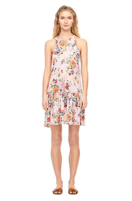 Marlena Floral Linen Jersey Dress - Dusty Rose Combo