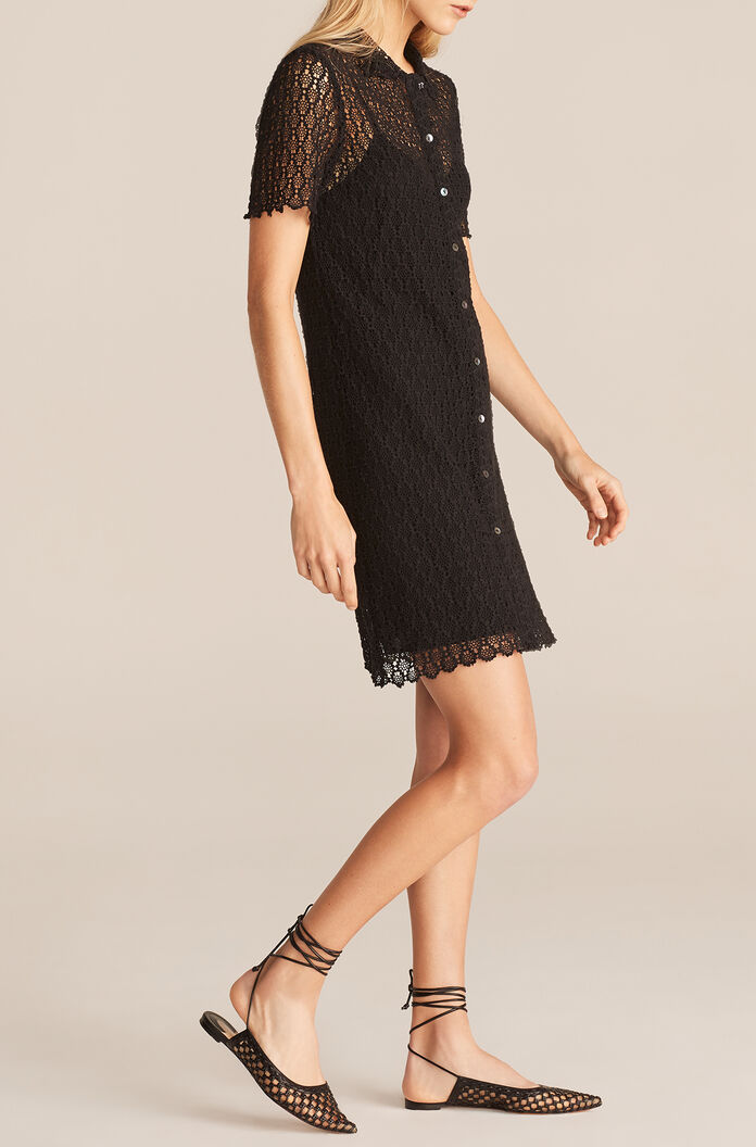Pina Embroidered Dress, Black, large